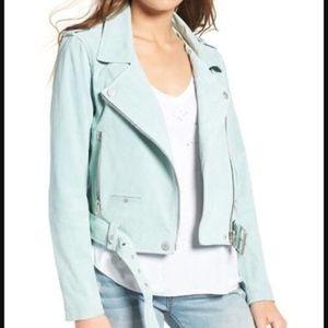 BLANKNYC Belted Suede Moto Jacket in mint